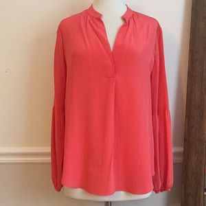 Ann Taylor Coral, Bell Sleeve, Silk Top